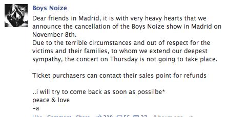 Boy Noize Cancels madrid show