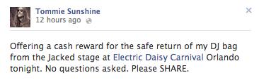 Tommie Sunshine DJ bag stolen