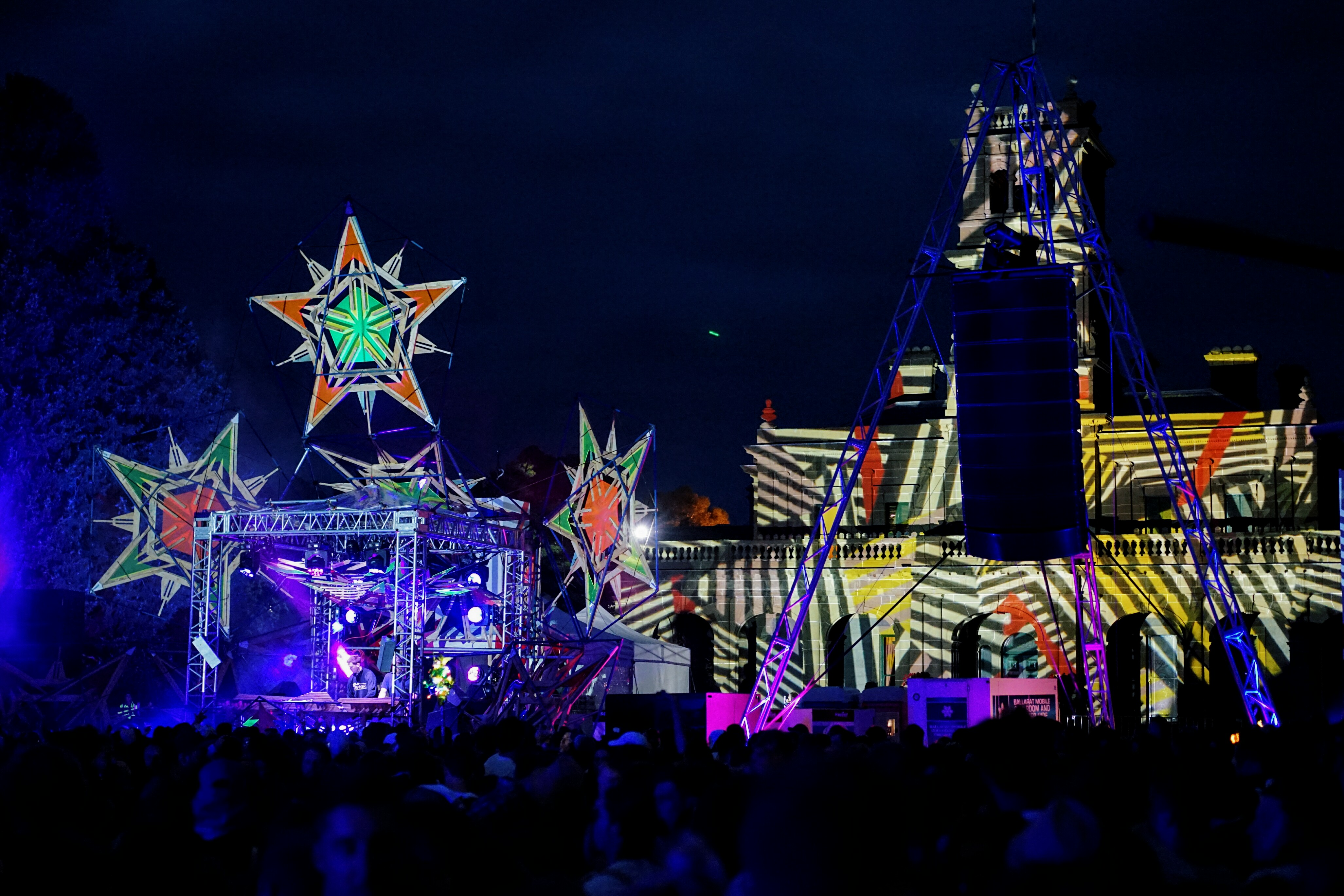 The festival grounds really come alive a night as the garden, stage and mansion are lit up.