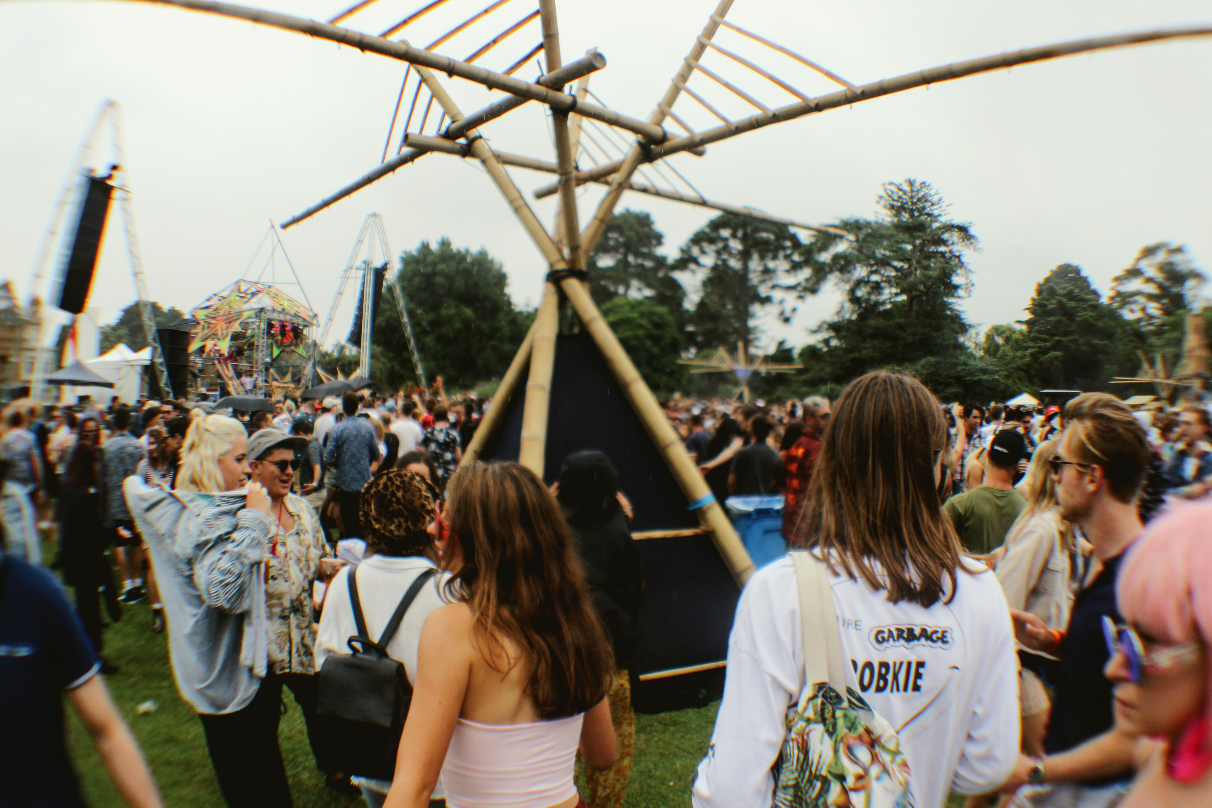 The Bastille stage with the Funktion-One Vero system hanging above the crowd.