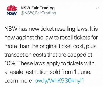 Ticket scalping in NSW is now illegal and the fines are hefty!